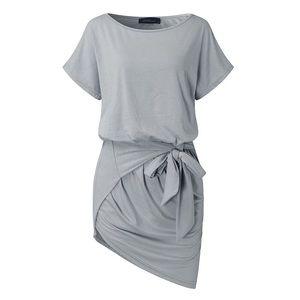 Dresses & Skirts - M-3X Casual Tie Front Mini Dress - Grey